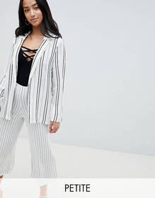 New Look Petite stripe soft blazer in white patter