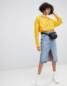 Weekday Denim Skirt with Front Split and Raw Hem