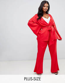 PrettyLittleThing Plus tailored wide leg pants in