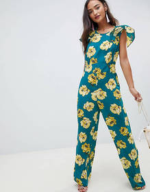 ASOS DESIGN Jumpsuit with Flutter Open Back in Flo