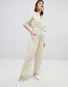 Mango organic cotton jumpsuit in abstract floral p