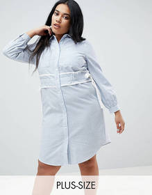 Lost Ink Plus Shirt Dress In Stripe With Waist Det