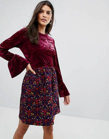 Anna Sui Crushed Velvet Dress with Jaqcuard Floral