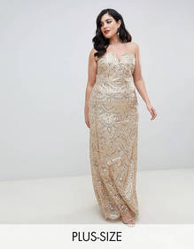 TFNC Plus patterned sequin bandeau maxi dress in g
