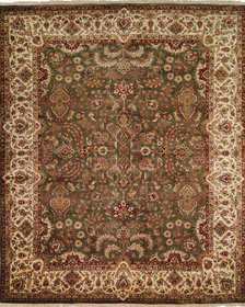 Hand-Knotted Brown/Green Area Rug