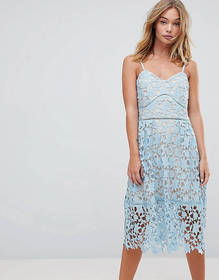 Rd & Koko Pretty Lace Midi Dress With Contrast Lin