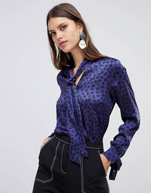 Emme Helier Leopard Print Shirt with Neck Tie