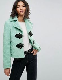 ASOS Borg Coat with Frogging Detail