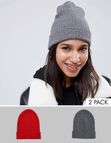 ASOS DESIGN 2 pack rib beanie in recycled polyeste