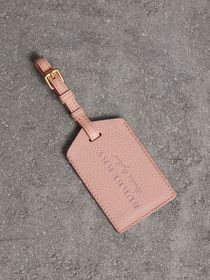 Grainy Leather Luggage Tag in Pale Ash Rose