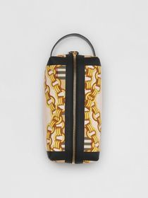 Archive Scarf Print Cotton Pouch in Black