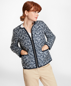 Water-Repellent Floral-Print Reversible Quilted Ja