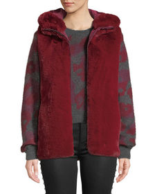 Neiman Marcus Reversible Hooded Faux-Fur Vest