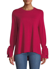 Neiman Marcus Tie-Sleeve High-Low Crewneck Sweater
