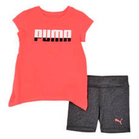 Toddler Girl Puma 2pc. Shark Bite Hem Logo Tee & B