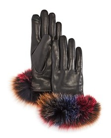 Echo - Fox Fur Trim Leather Tech Gloves