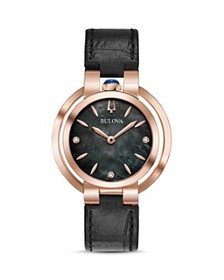 Bulova - Rubaiyat Black Leather Strap Watch, 35mm