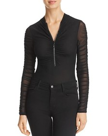 GUESS - Lala Ruched-Sleeve Mesh Bodysuit