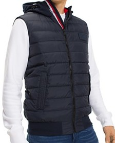 Tommy Hilfiger - Stripe-Trimmed Mixed-Media Puffer