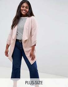 New Look Curve waterfall blazer in pink