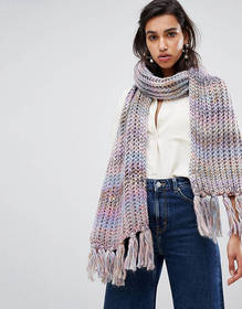 Warehouse oversized knitted scarf in pastel