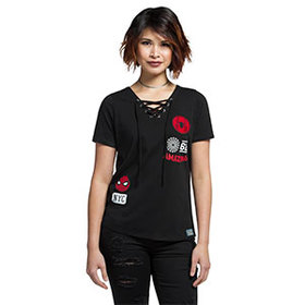 Spider-Man Patches Lace-Up Ladies' Top