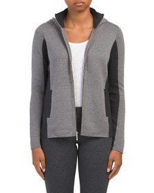 ASPEN Color Block Hooded Zip Front Cardigan
