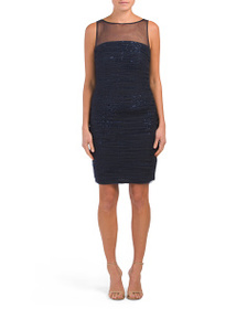 CARMEN MARC VALVO INFUSION Ruched Sequin Tulle Dre