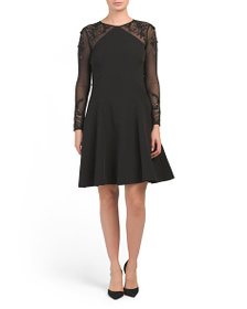 TAHARI BY ASL Long Sleeve Illusion Fit & Flare Dre