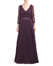 JS COLLECTIONS Long Sleeve Belted V-neck Lace Gown