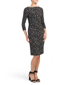 AK ANNE KLEIN Printed Jersey Dress With Side Panel