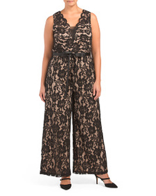 MARINA Plus Stretch Lace Ribbon Belted Jumpsuit
