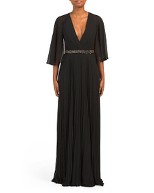 LAUNDRY BY SHELLI SEGAL Cape Gown With Beaded Wais