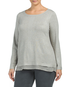CYRUS Plus Sweater With Double Lace Hem