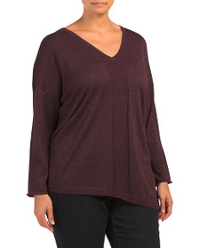 NYDJ Plus Shimmer Asymmetrical Sweater