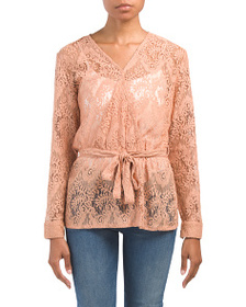 SOLITAIRE Long Sleeve Lace Wrap Top