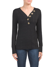 STUDIO 226 Long Sleeved Ribbed Top With Big Button