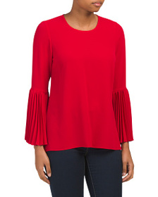VINCE CAMUTO Petite Pleated Bell Sleeve Blouse