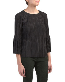 VINCE CAMUTO Petite Pleated Knit Bell Sleeve Top