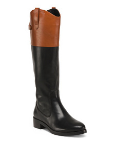 HALSTON HERITAGE Leather High Shaft Boots