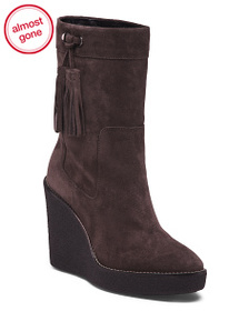 AQUATALIA Made In Italy Suede Wedge Booties
