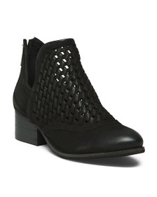 REBELS Leather Cut Out Weave Booties