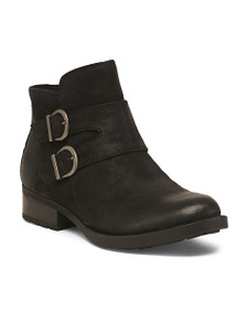 BORN Buckle Ankle Leather Booties
