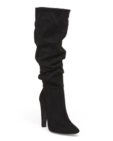 QUPID Ruched Knee High Dress Boots
