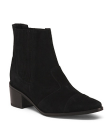 CHARLES DAVID Made In Italy Western Suede Ankle Bo