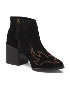 COCONUTS Made In Brazil Embroidered Suede Booties