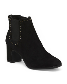 ANNE KLEIN Studded Double Gore Ankle Booties