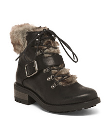 CARLOS SANTANA Lace Up Booties With Faux Fur
