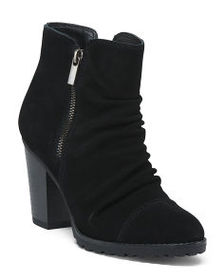WHITE MOUNTAIN Suede Side Zip Booties