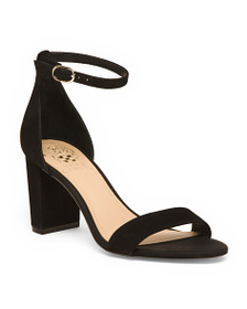 VINCE CAMUTO Suede Two Piece Ankle Strap Block Hee